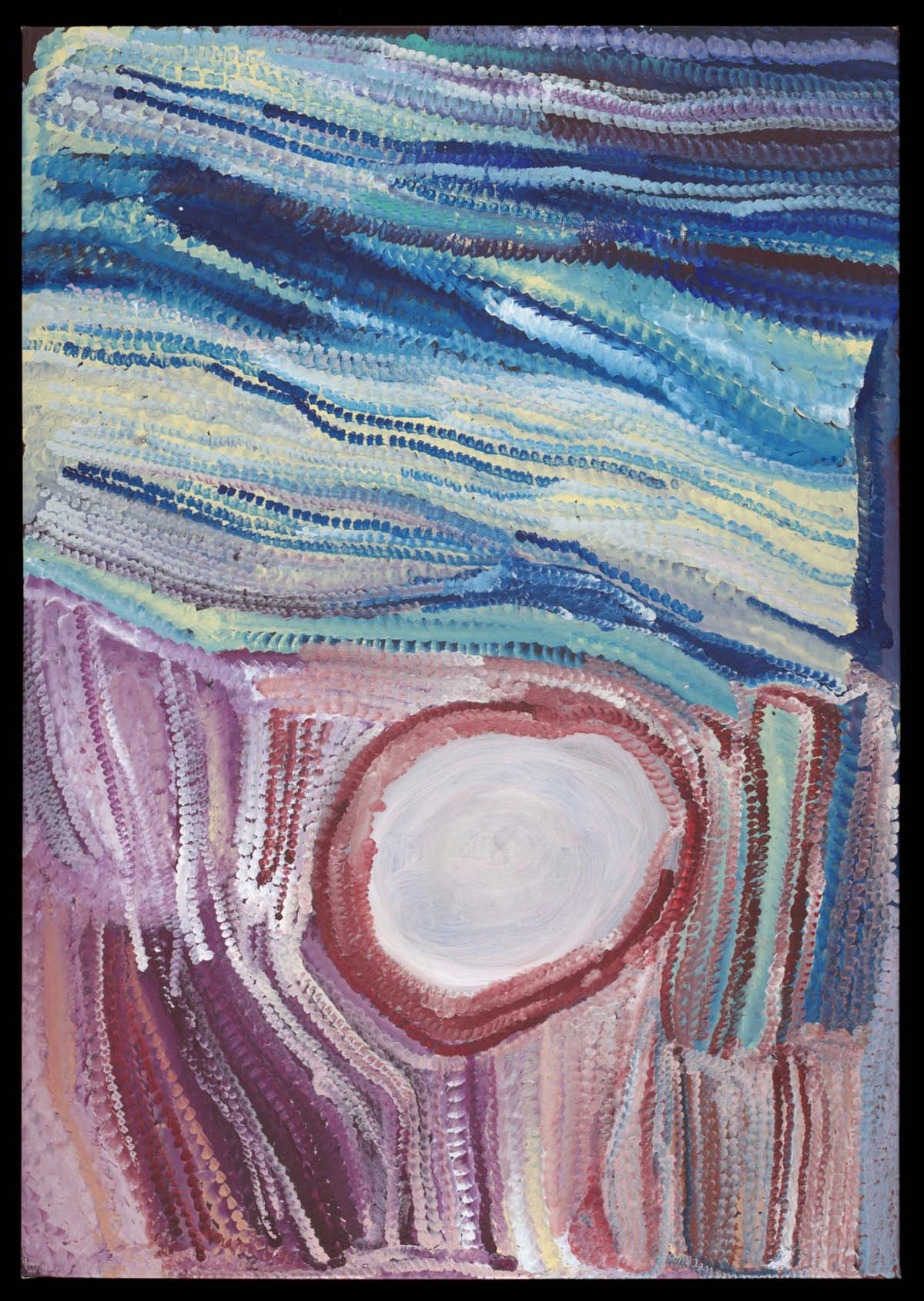 abstract painting with a central circular shape and lines