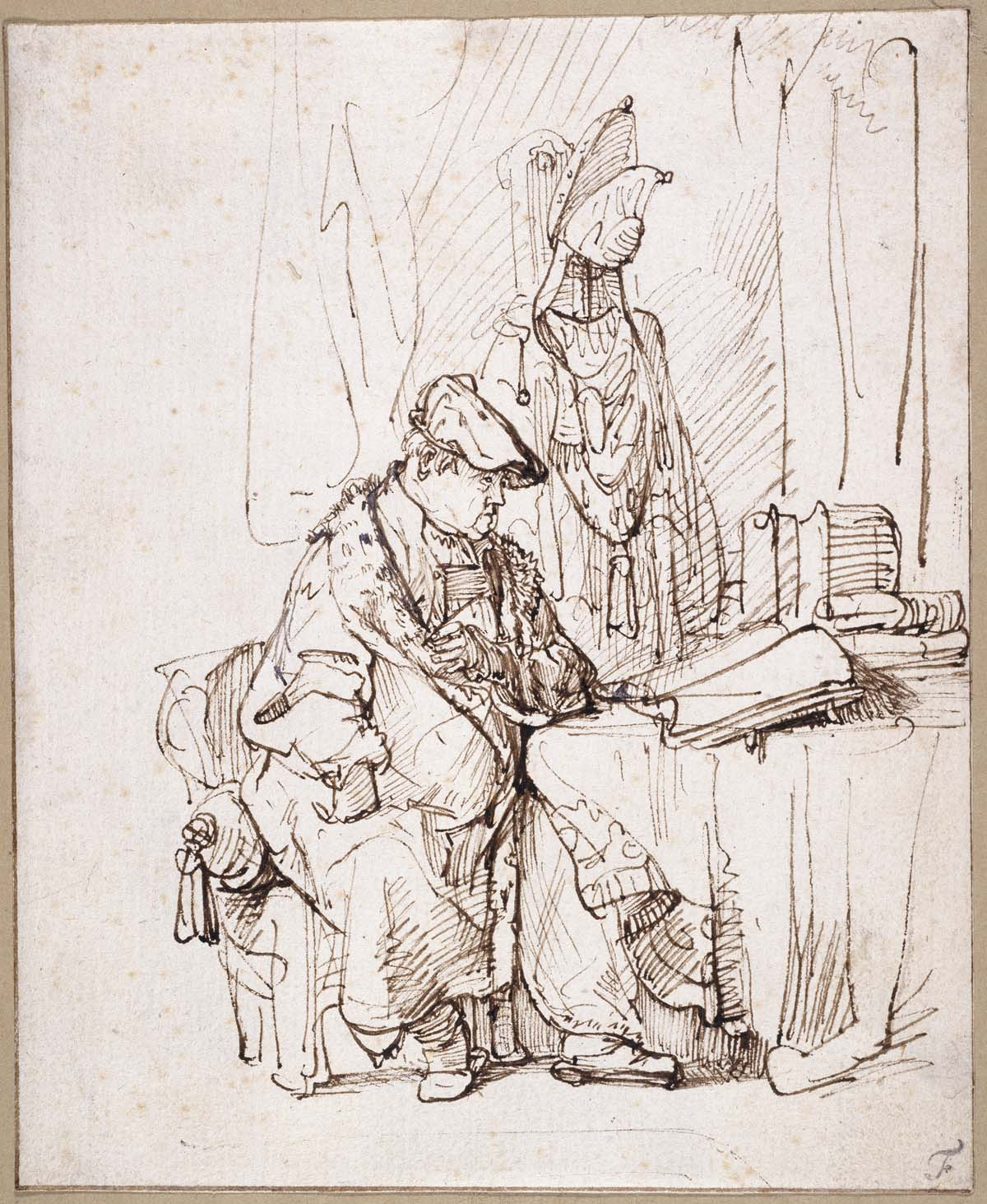 pencil sketch of alrge man in a dressing gown seated at a table
