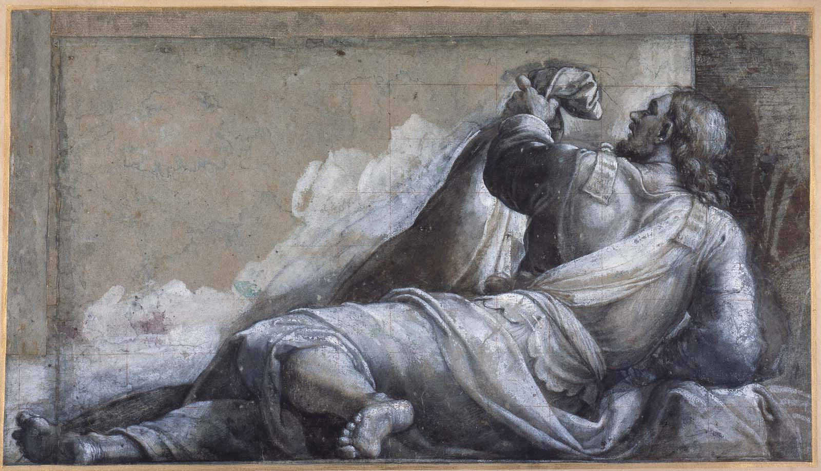 charcoal drawing of a reclining man in robes and armour