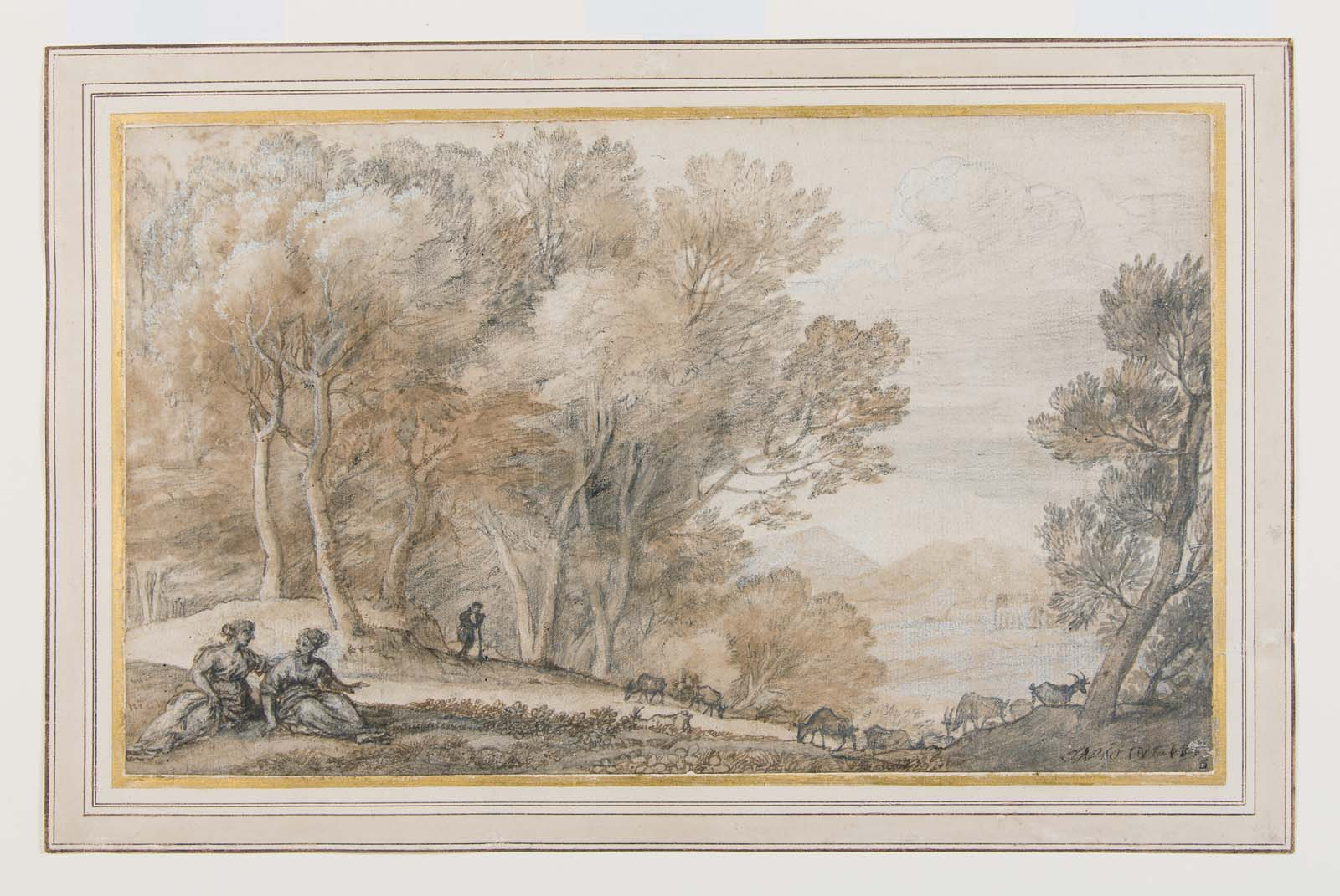 colour sketch of a landscape with trees, two reclining women in the foreground and a shepherd leaning on a stick overseeing a flock of goats in the distance