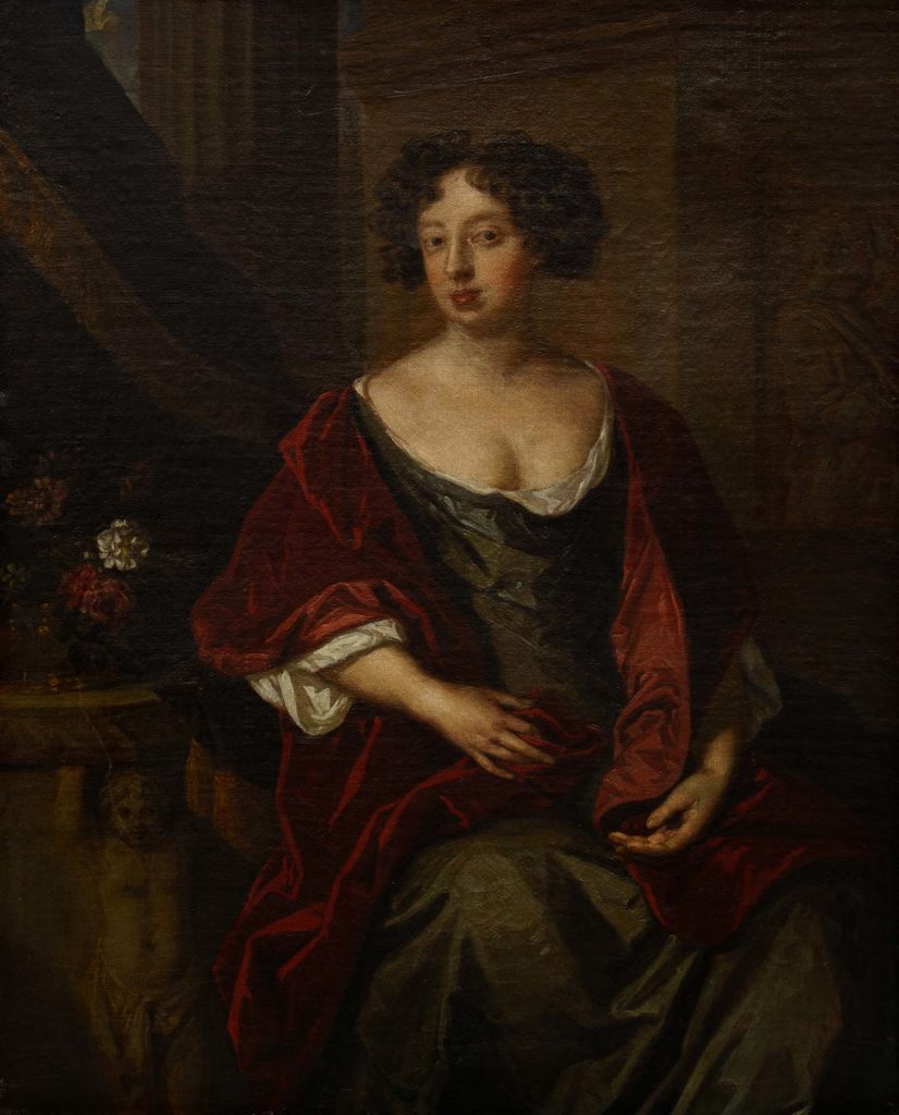 portrait of a woman in a red velvet dress