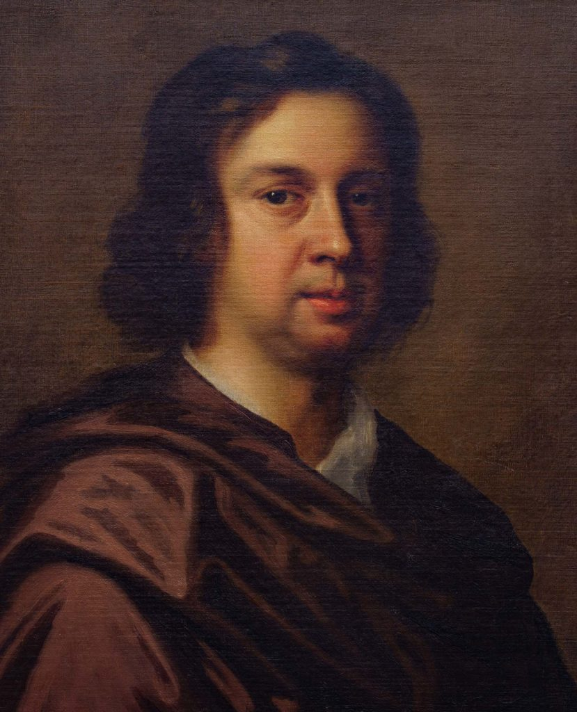 oil head and shoulders portrait of a man with shoulder length brown hair