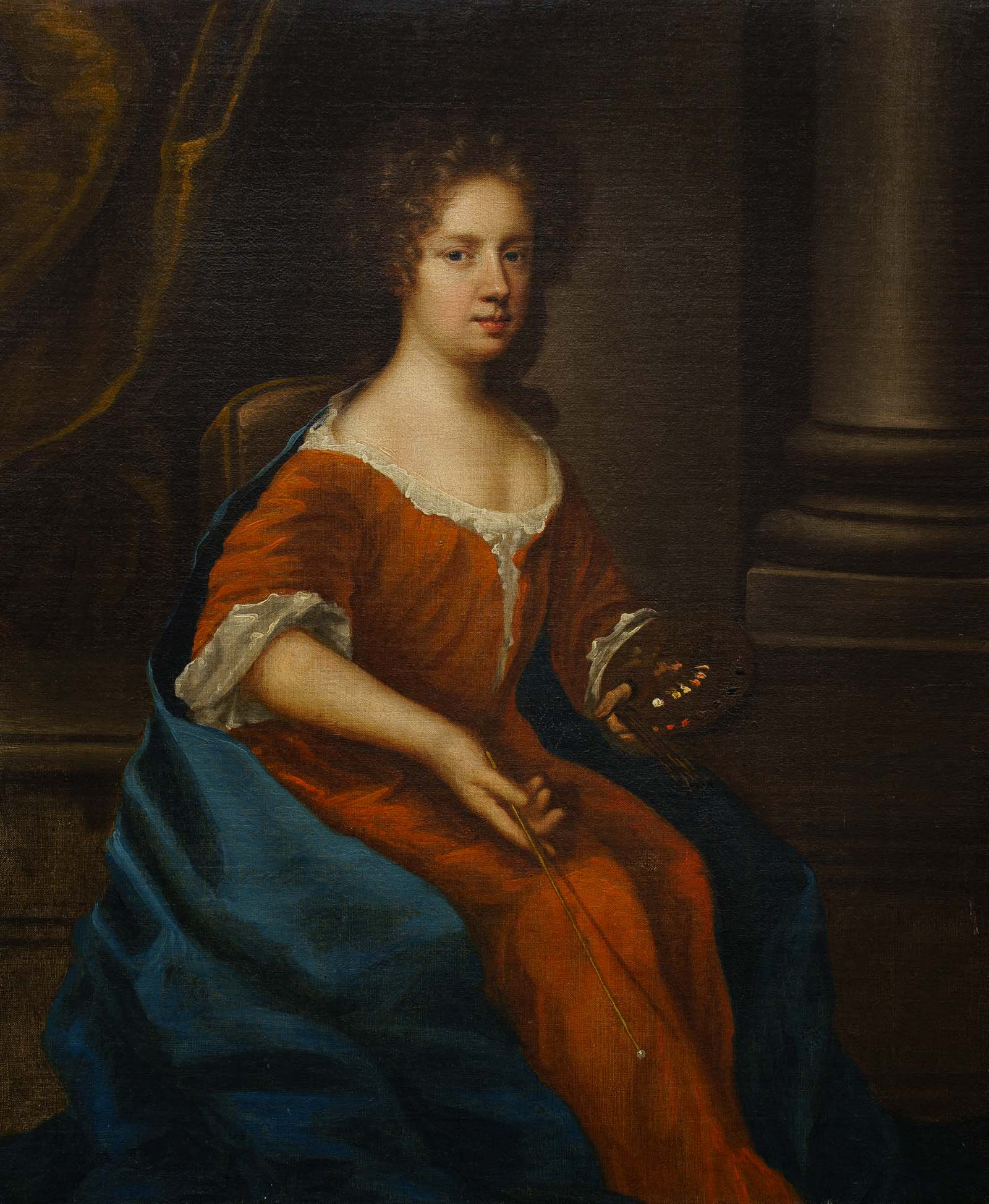formal portrait of a woman in a red velvet dress
