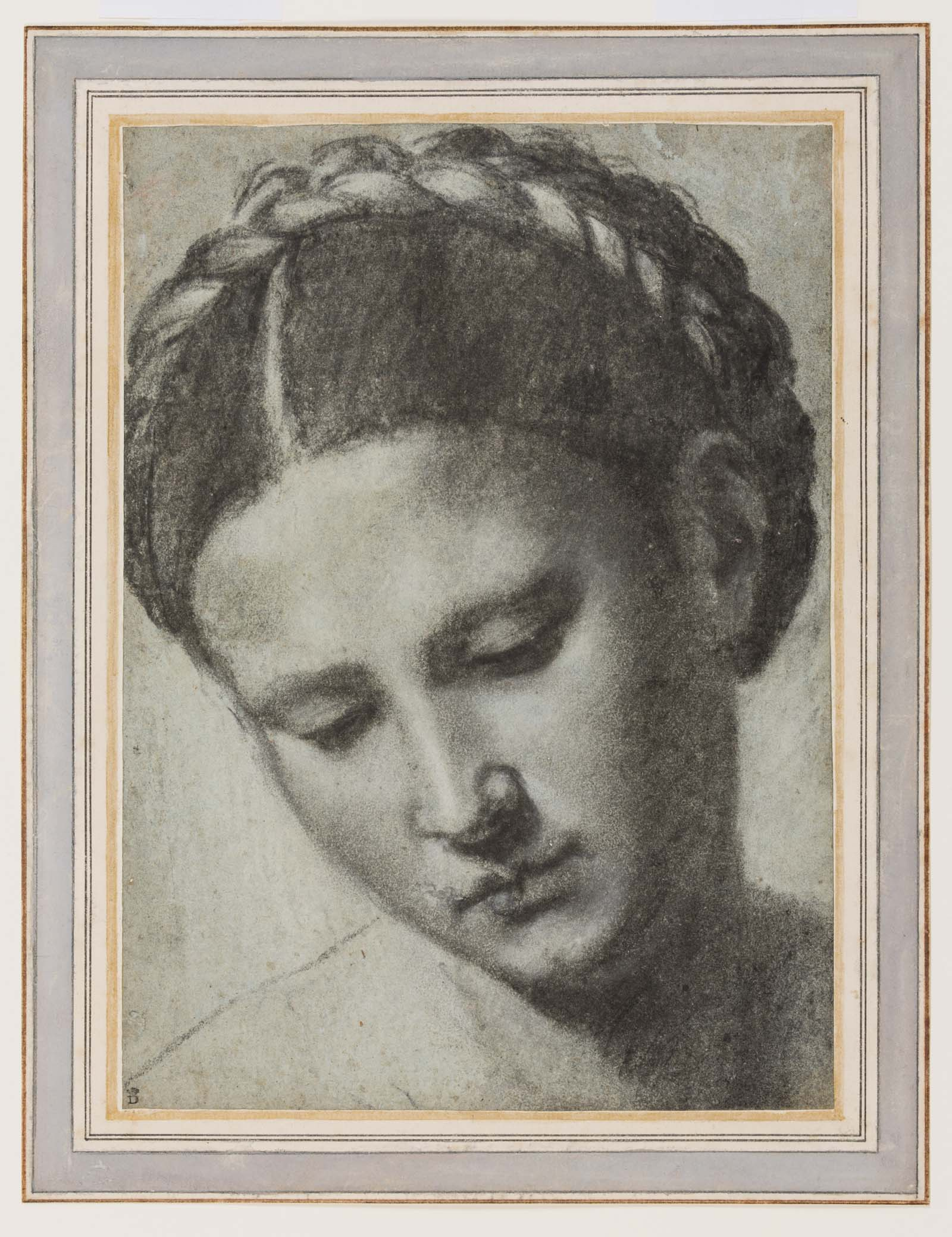 pencil portrait of a woman with braided hair