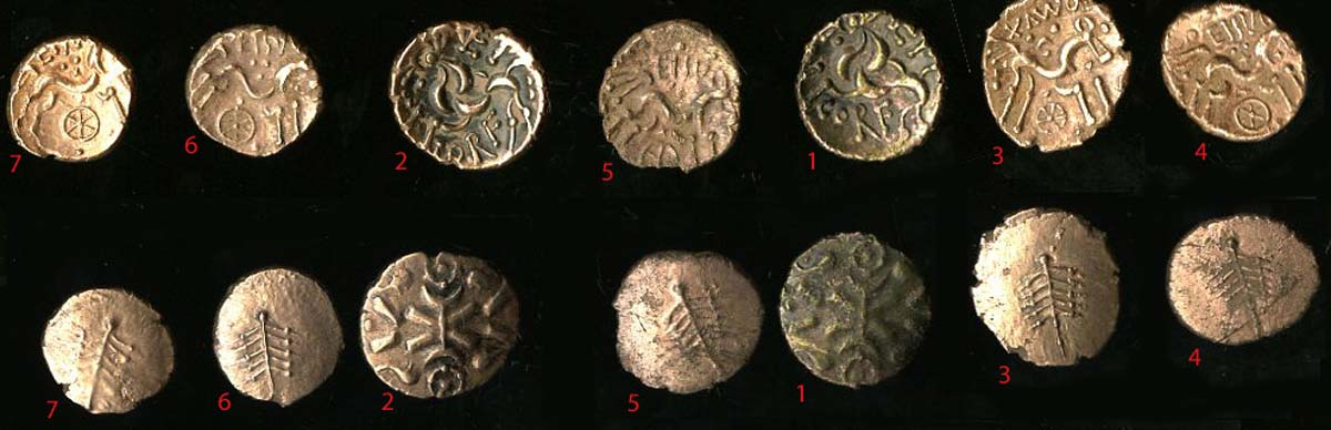 photo showing both sides of a a grouping of seven coins
