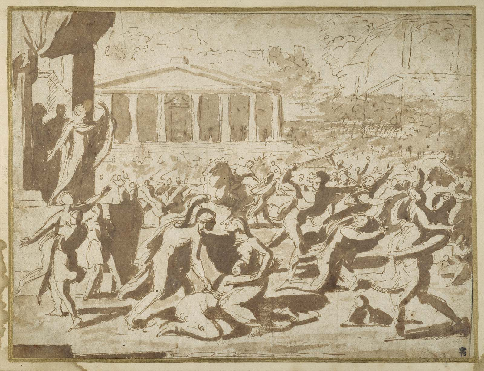 sketch of women being attacked by armed men in classical setting with