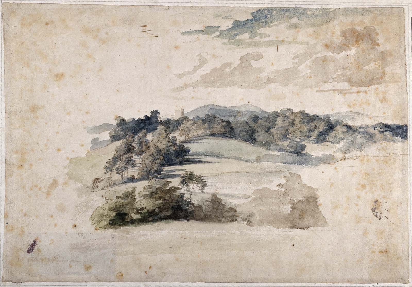watercolour of fields and distant trees and shrubs under a clouded sky