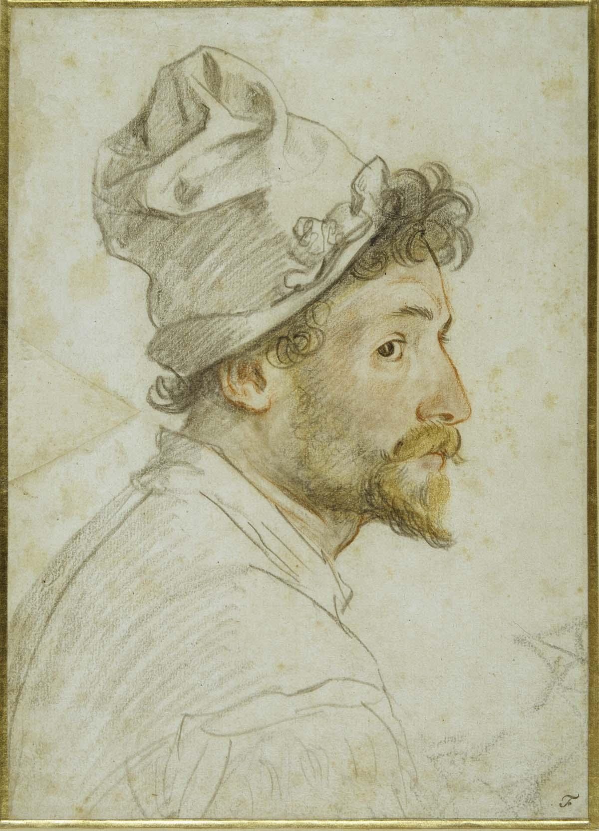 side profile colour pencil portrait of a bearded man with a cap