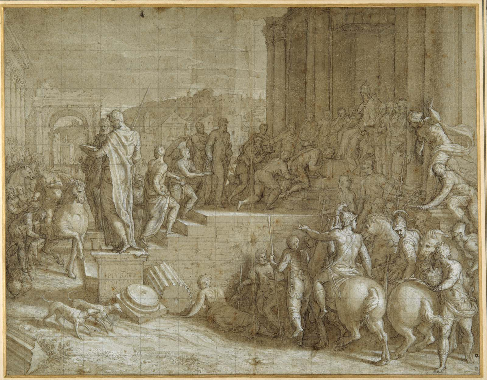fine pencil drawing of a classical scene in which men and soldiers on horseback approach a man seated on a throne before Greek style classical building