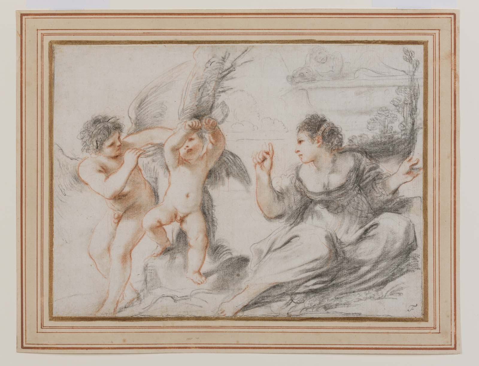 drawing of two cherubs and a woman