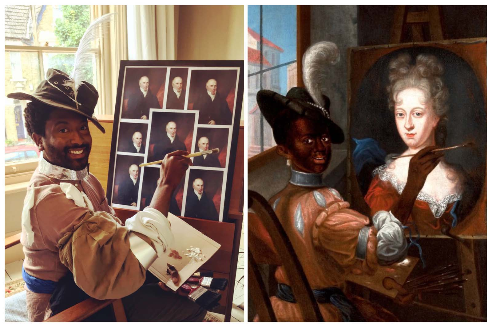 painting of black man painting at an easel next to a photo with a man imitating the same scene
