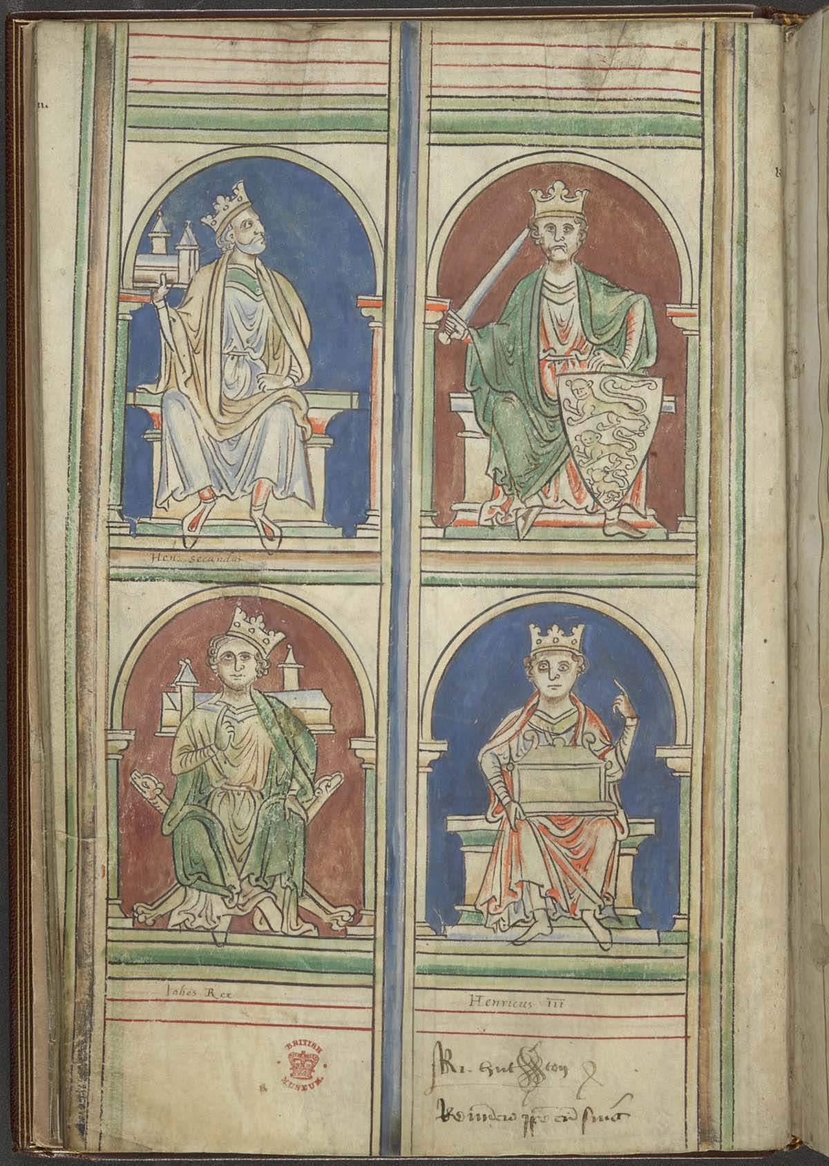 medieveal manuscript drawing of fo9ur English kings with crowns seated on their thrones