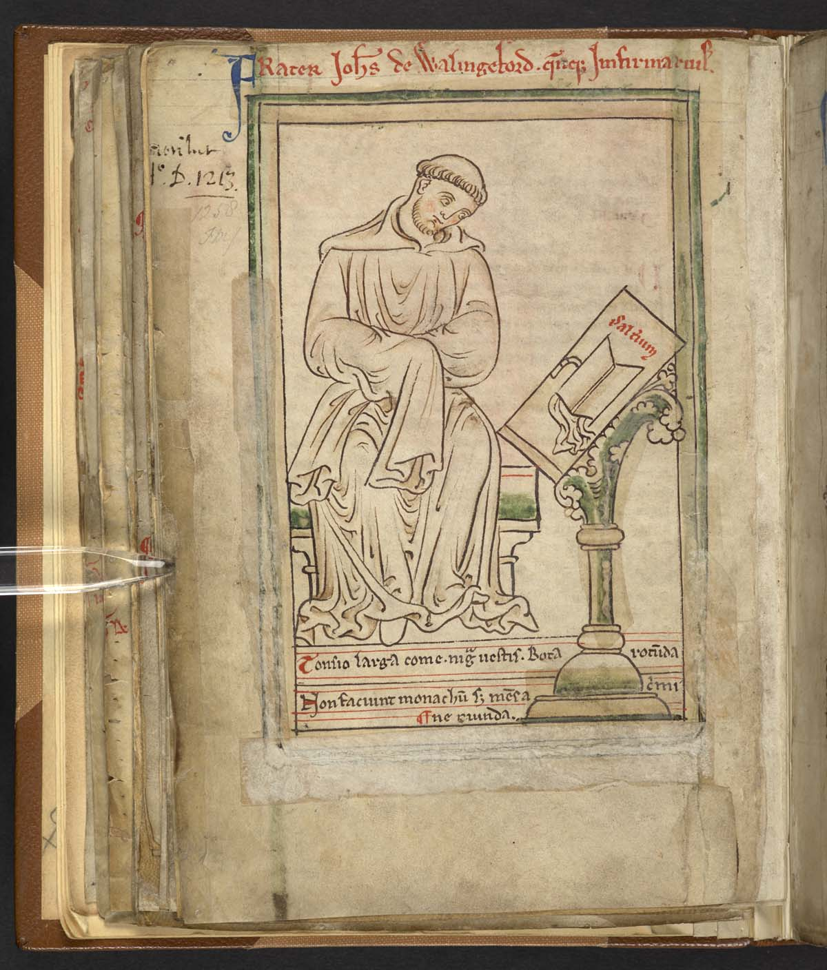 medieval drawing of a monk next to a pulpit or stand