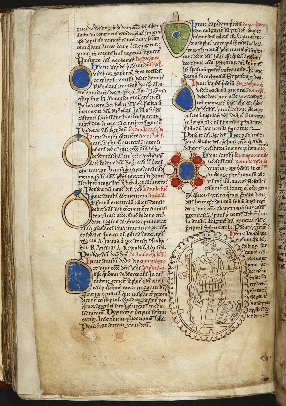 medieval manuscript with tow columns of Latin with jewel illustration and oval drawing of a priest