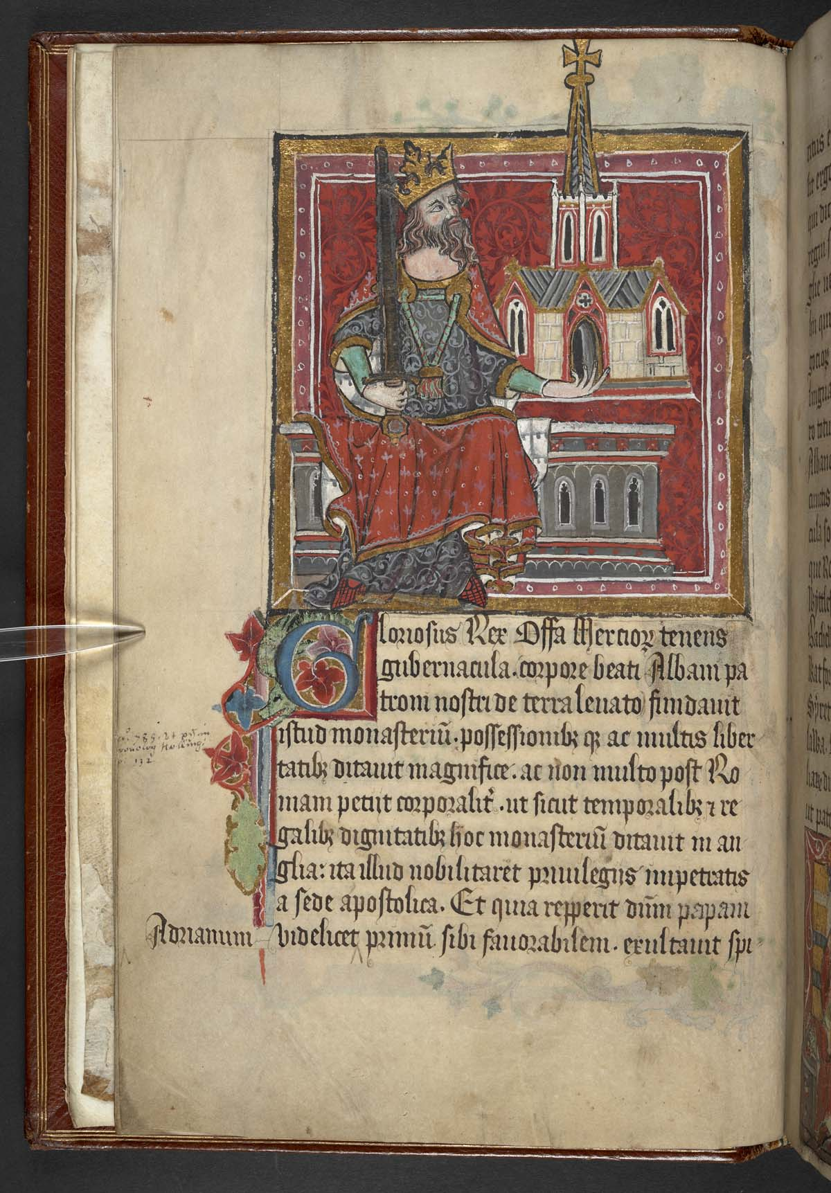 illuminated medieval manuscript of a king with a sword cradling a cathedral in his hand