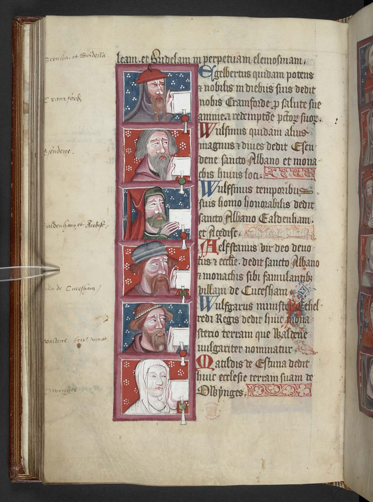 medieval manuscript page with faces of men with beards