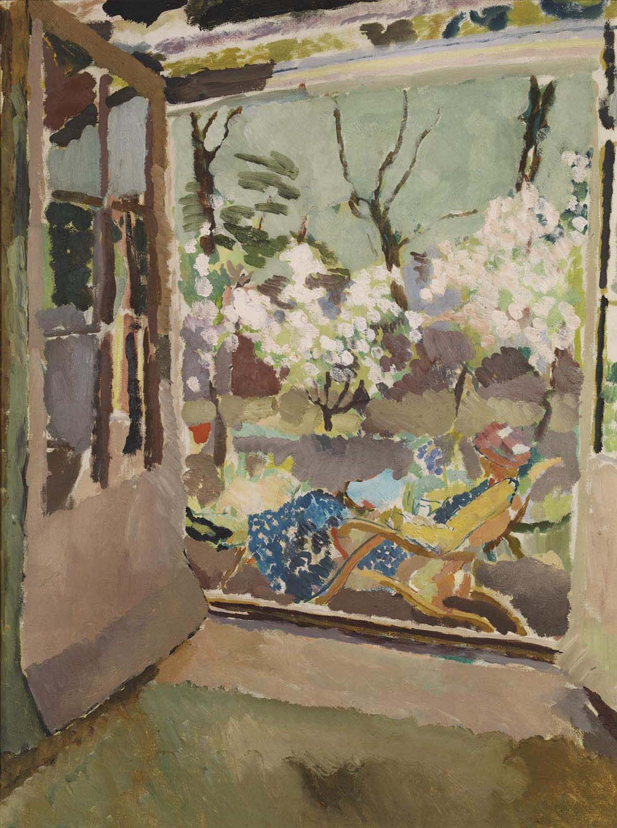 painting of a window view looking out towards tress in blossom