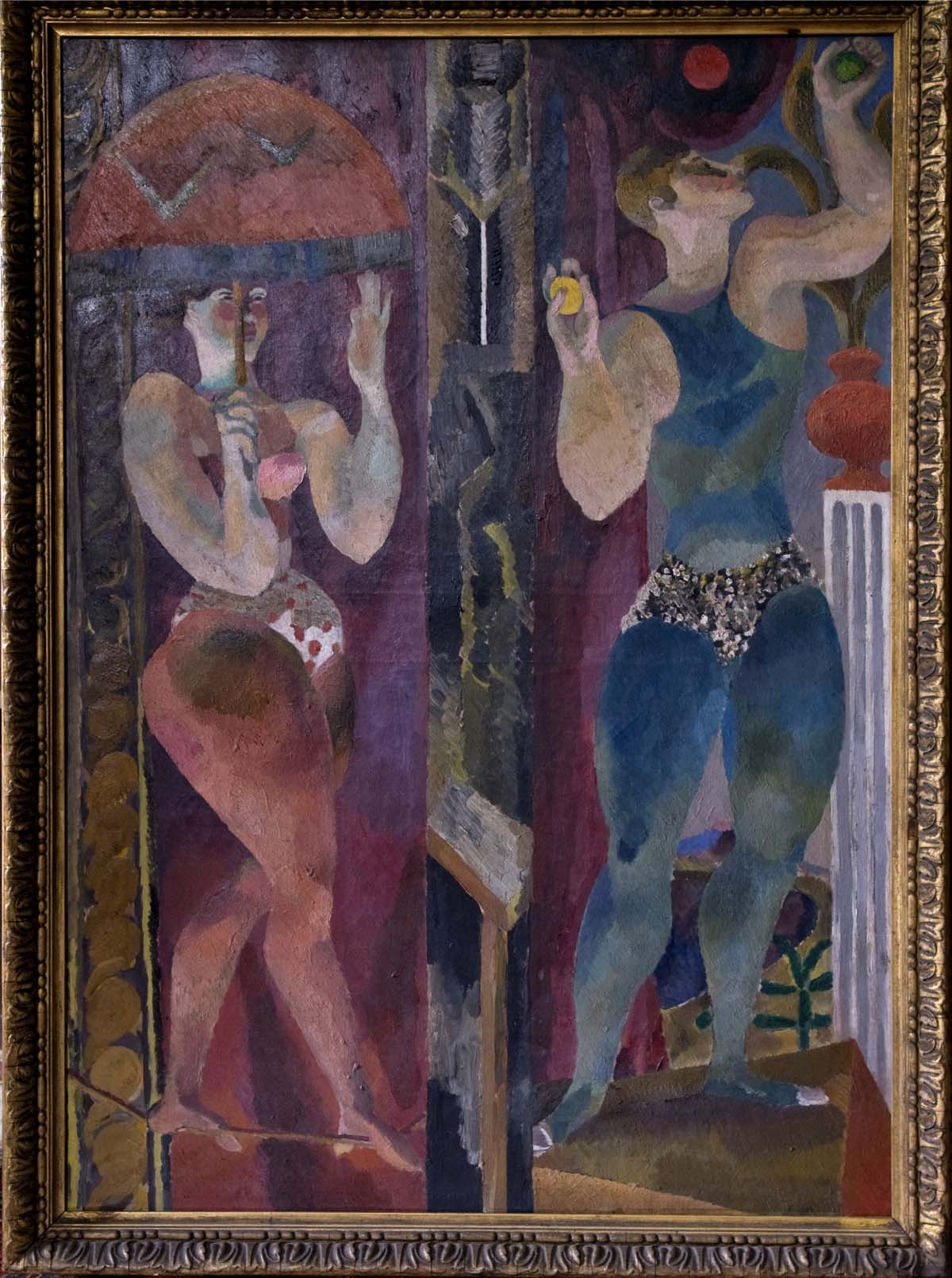 oil painting of two jugglers in leotards