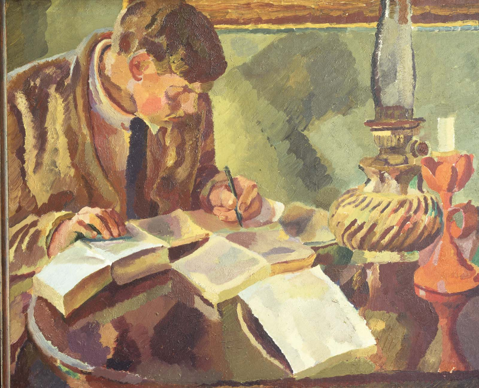 painting of a man with short hair, suit and tie leaning over a desk with books whilst writing