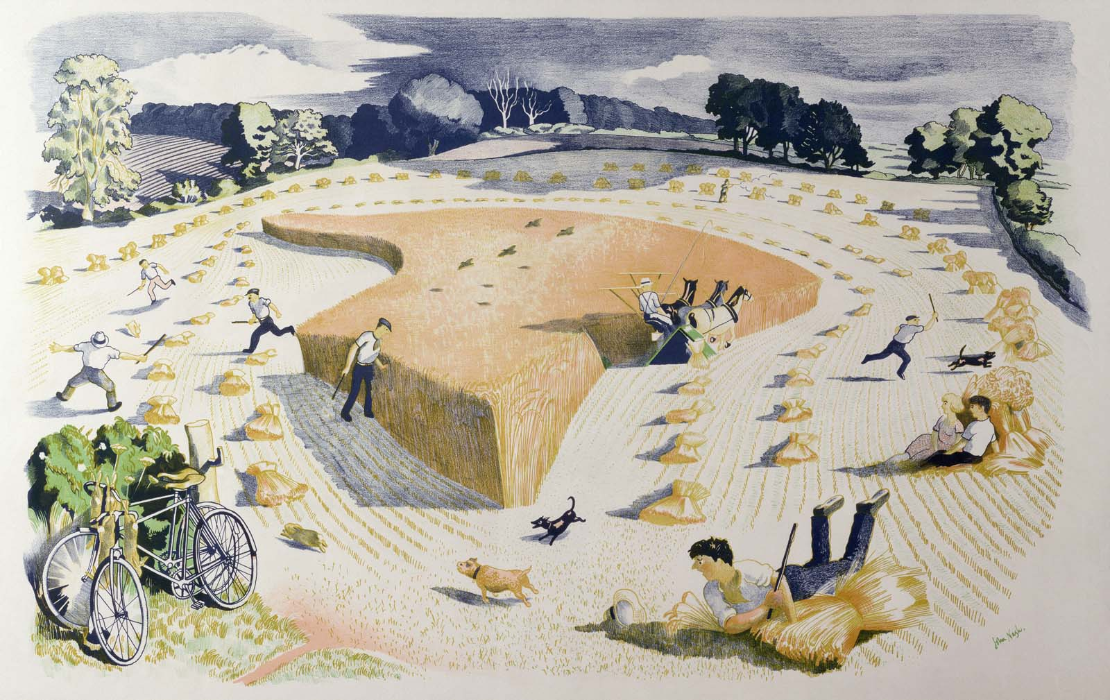a print of showing an idealised view of a field of corn being harvested with hay ricks in piles and men with dogs chasing rabbits as a couple sit i the hay and watch