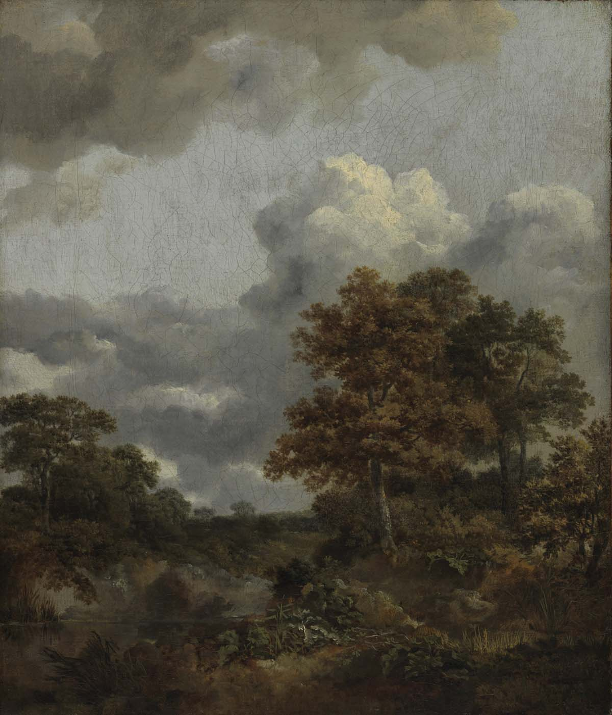 oil painting of trees beneath a cloudy sky next to a pool