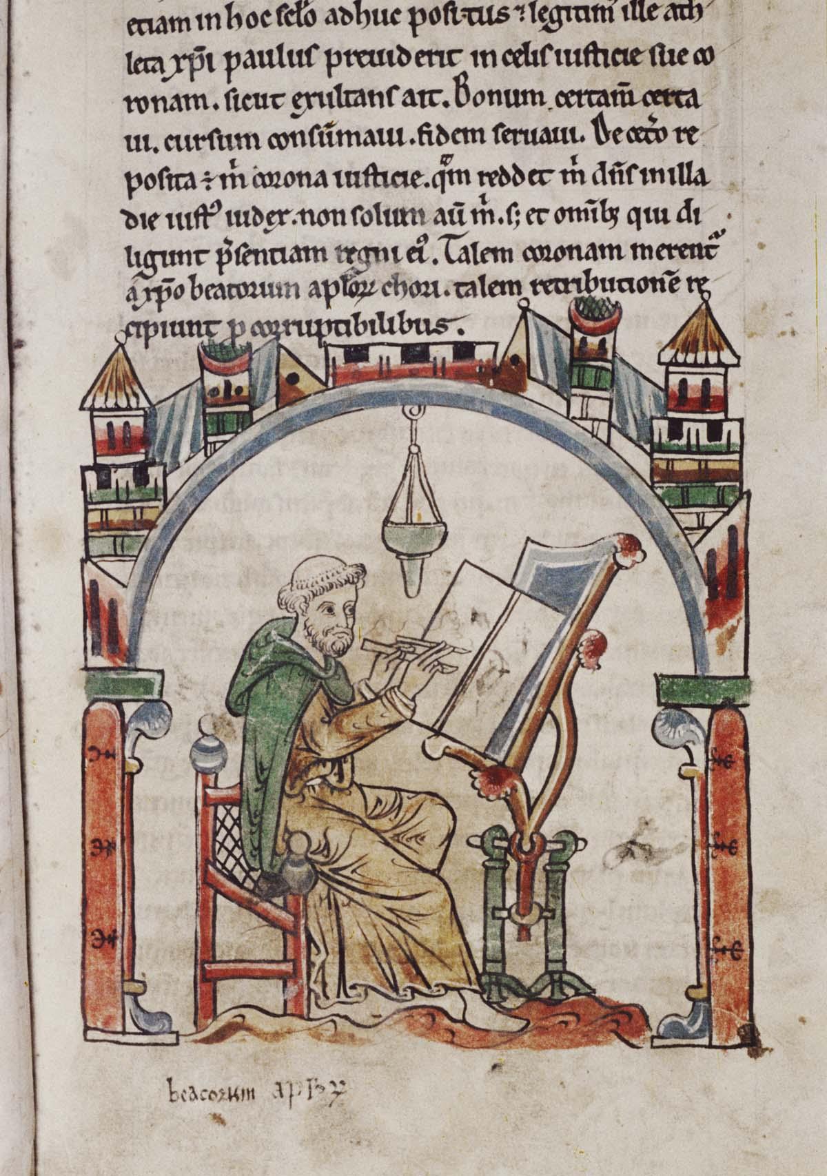 medieval illuminated illustration of a medieval scribe