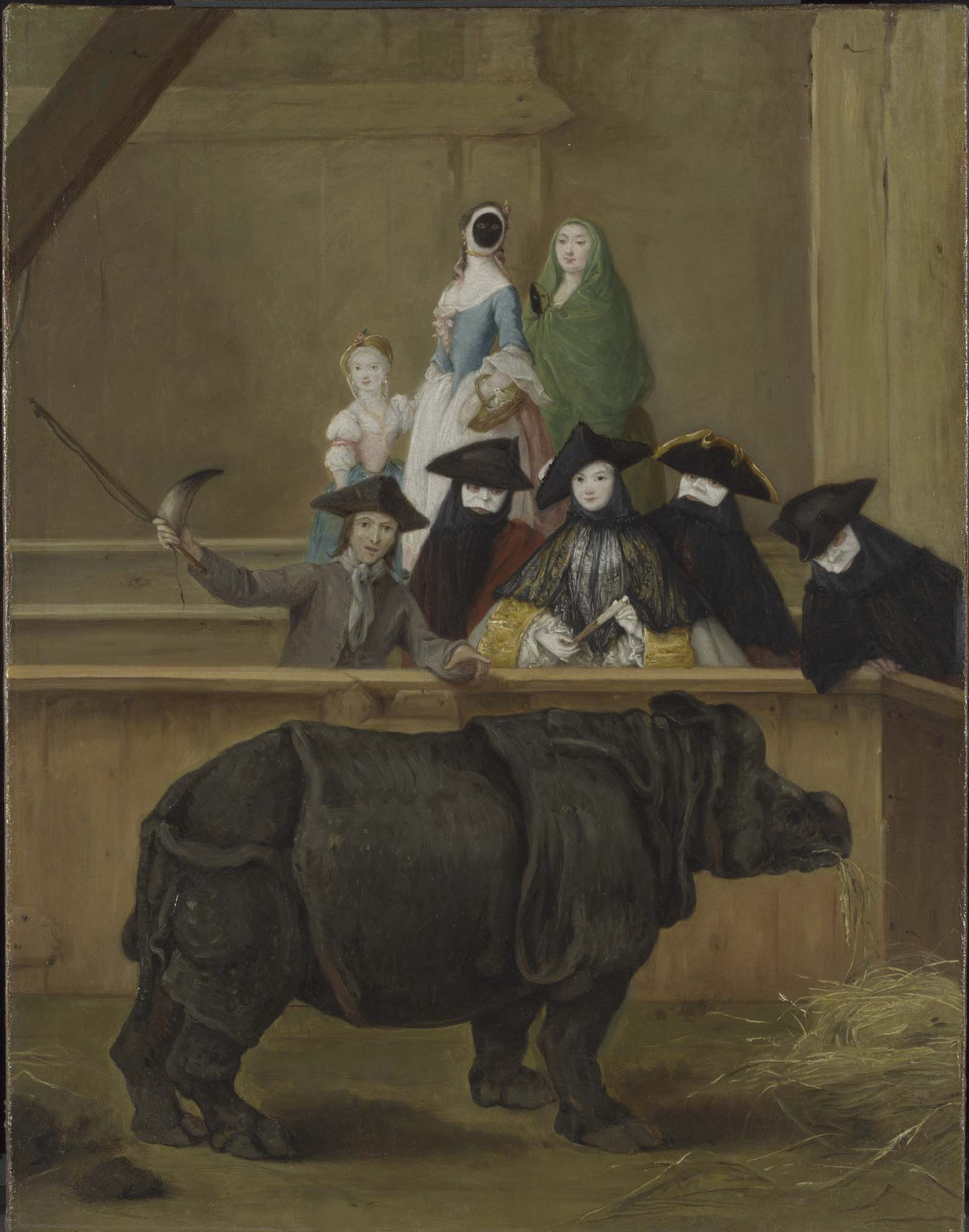 painting of a grooup of people viewing a black rhinoceros