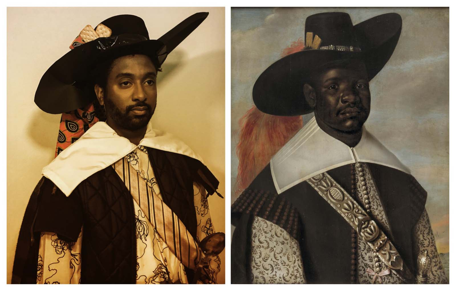 a painting of an African man in Cavalier style clothing with a photograph alongside of a man dressed in the same way