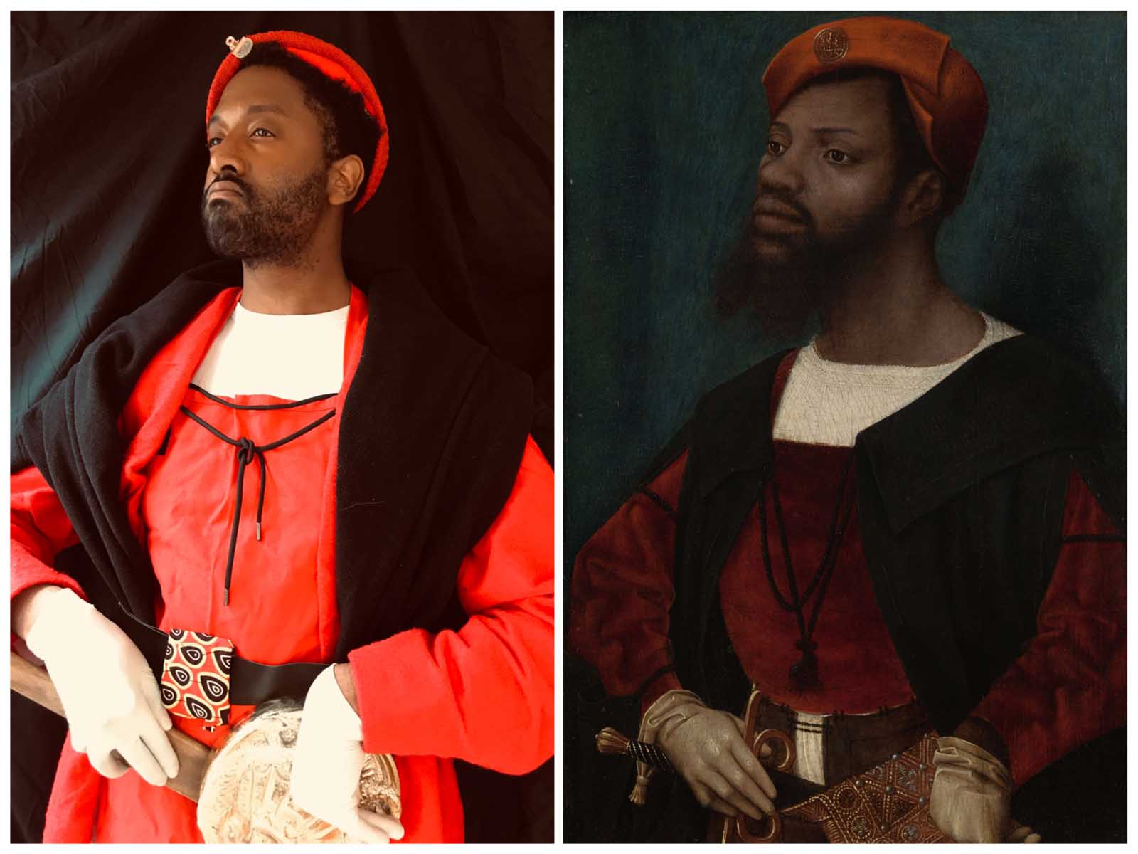 a duo picture comprising a photo and painting both of a Black man dressed in the clothes of a Renaissance gentleman