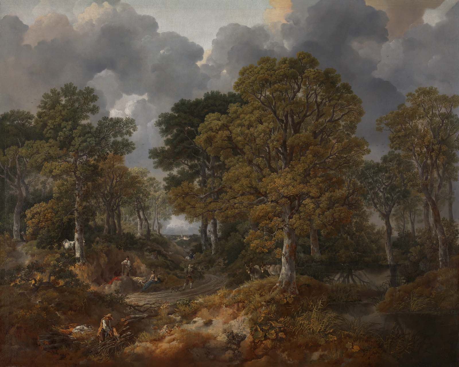 painting of sparse woodland beneath a cloudy sky