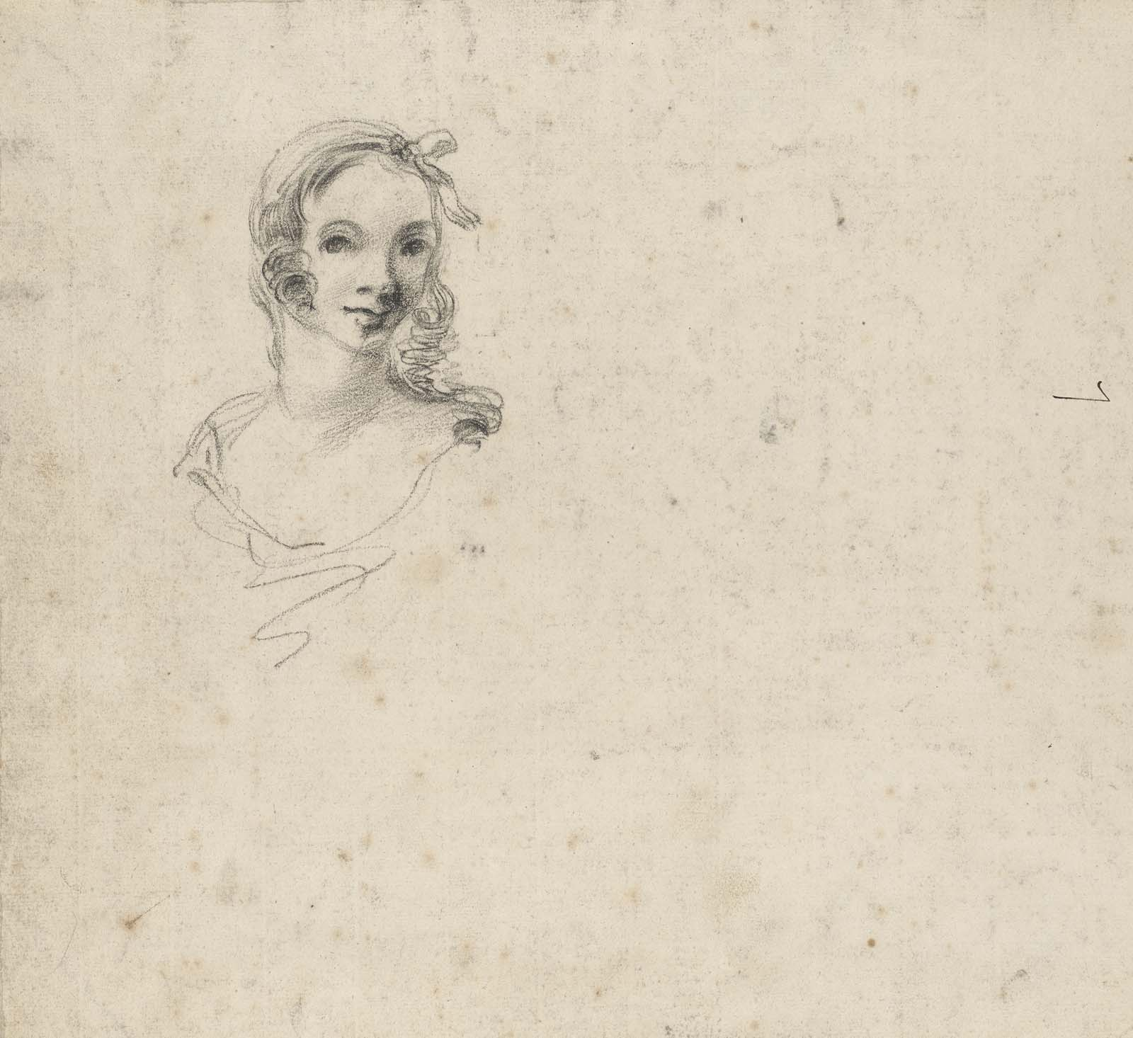 small pencil sketch of a young woman's head and shoulders