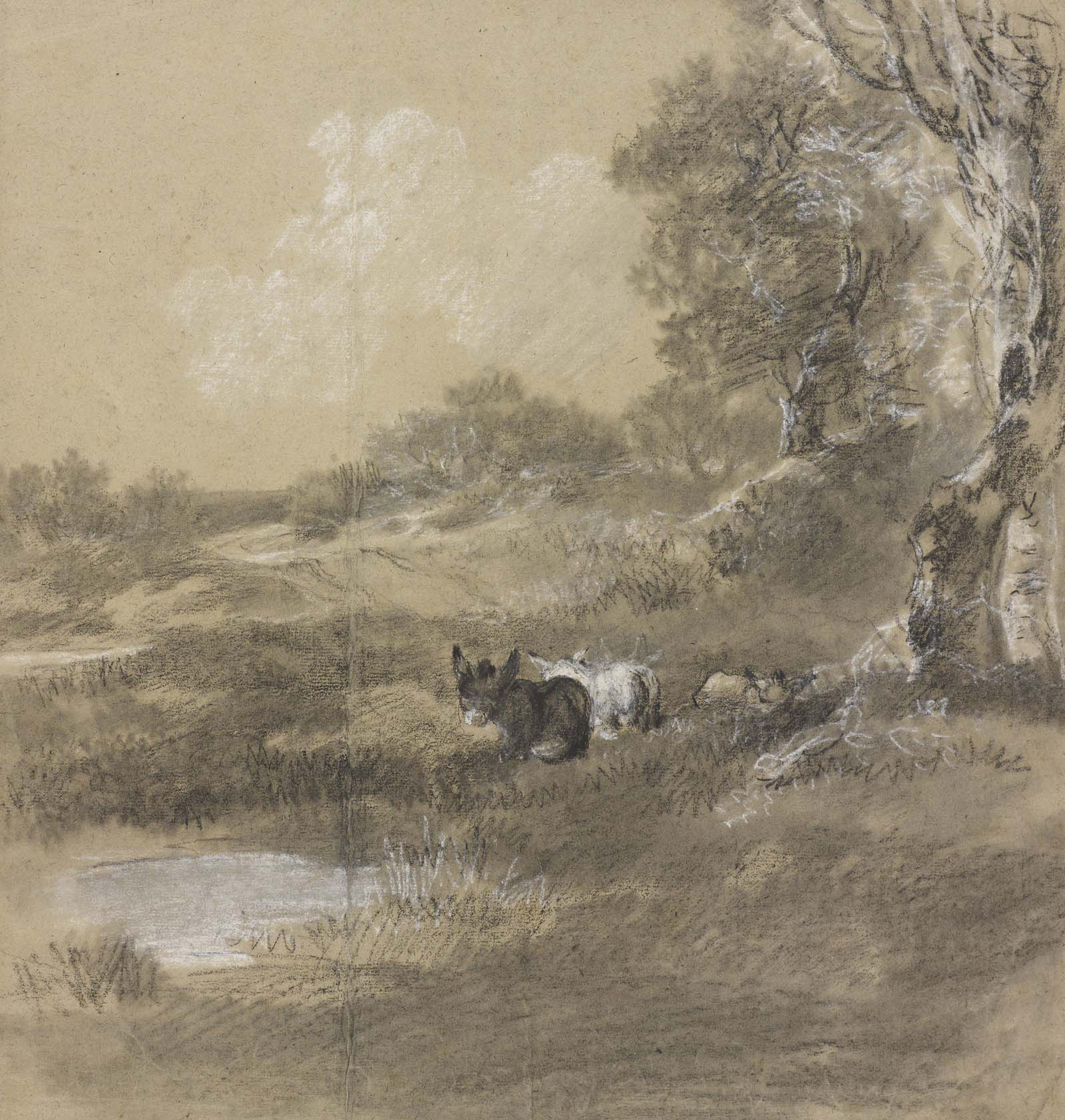 sketch of a wooded landscape with two donkeys
