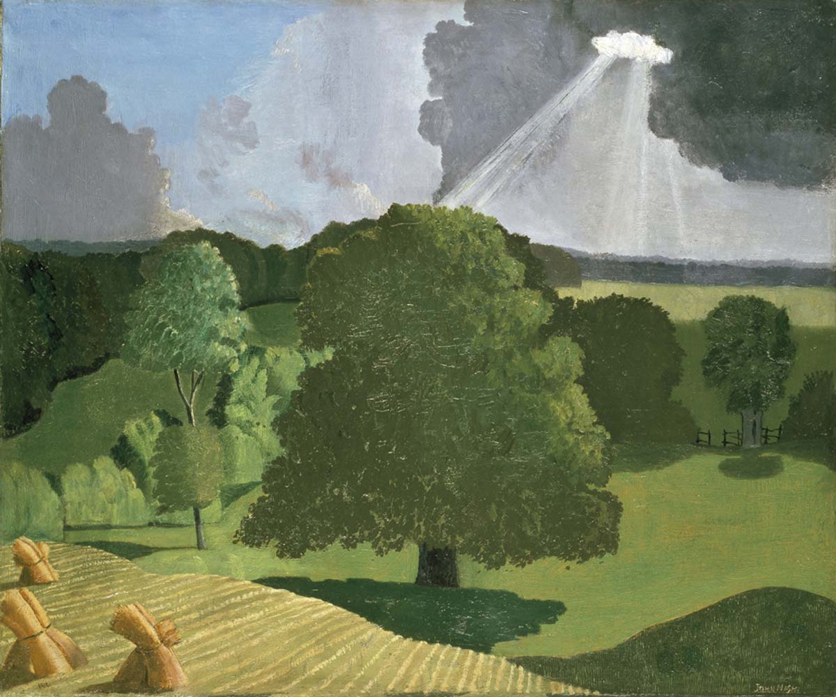 painting of fields and trees with shafts of sunlight breaking through the clouds onto the land below