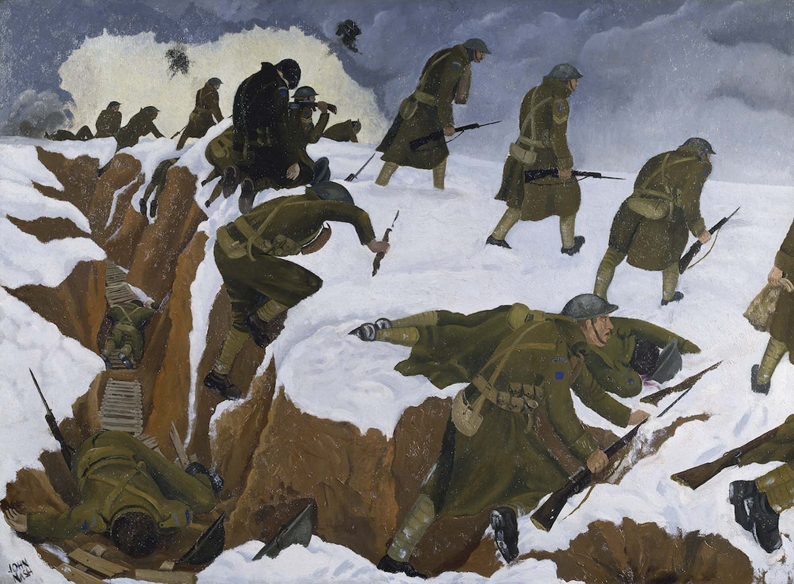 painting of soldiers climbing out of a trench into snow covered landscape with some of them lying dead and explosions in the distance