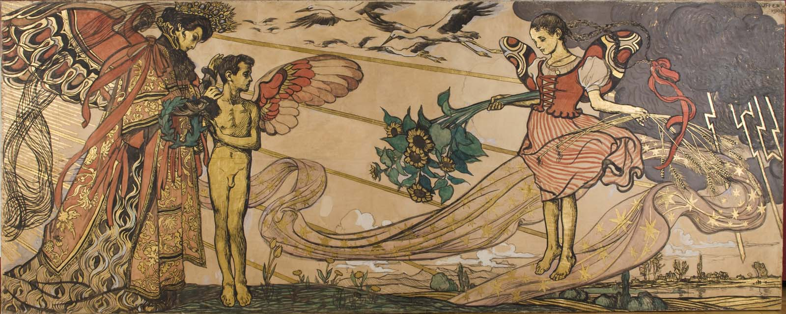 print showing a queen like figure next to a cherub both lookimng towards a gild floaing above landscape with a bouquetof sunflowers