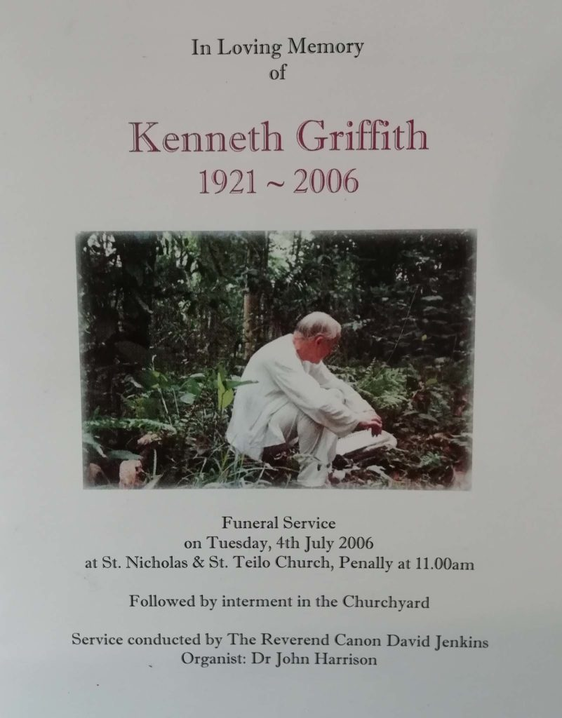 a memorial service sheet for Kenneth Griffith's finerla with a photo of him kneeling in a garden
