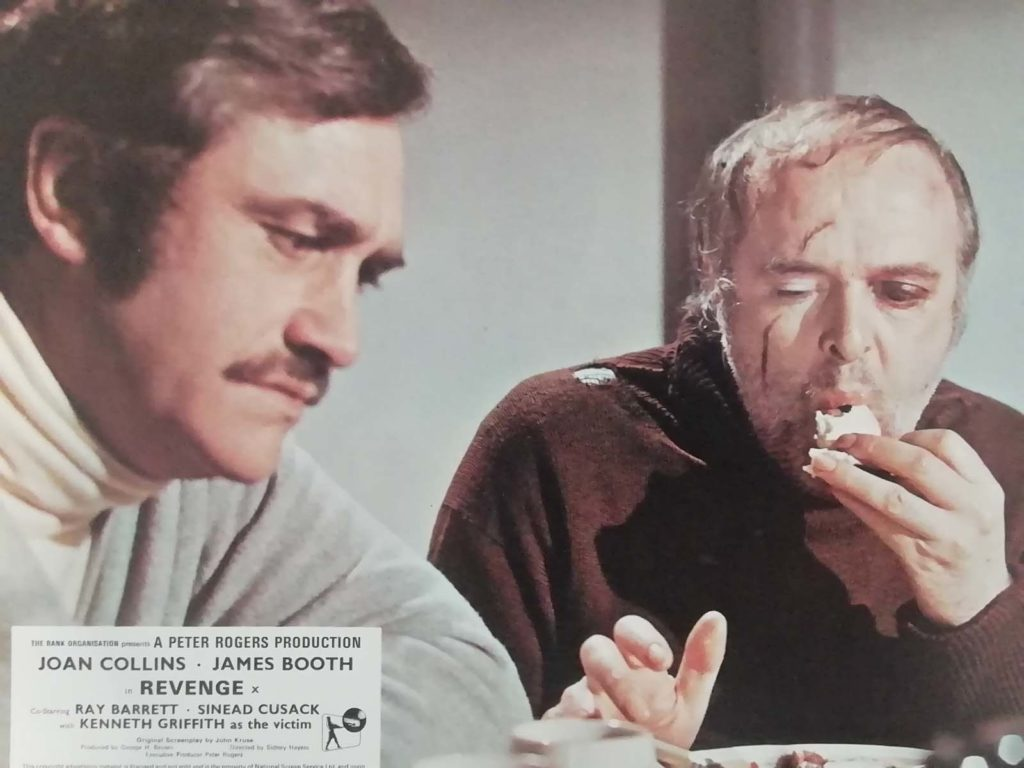 films still showing two men - one of them with a bruised face eating an apple