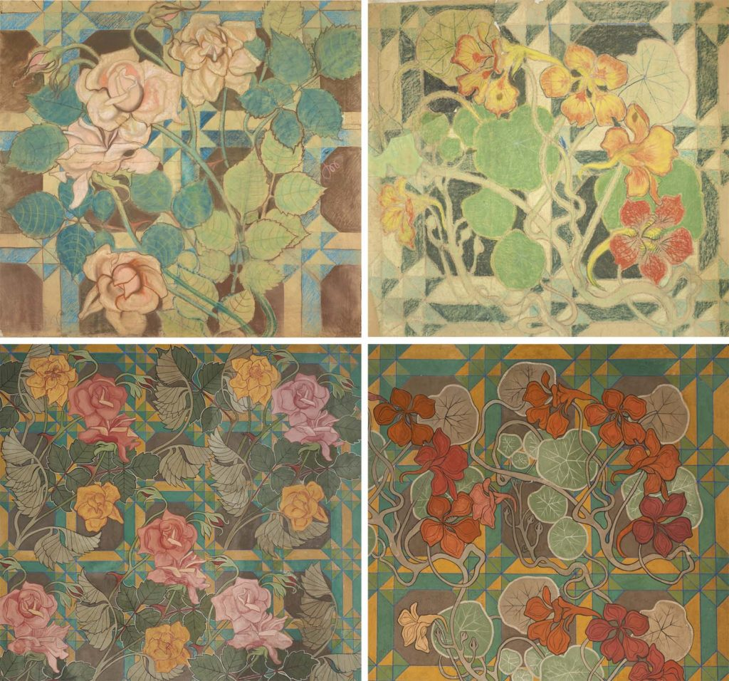 four close up drawings of flowers in muted greens and primary colours