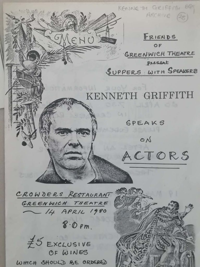 a dinner programme with the photocopied image of Kenneth Griffith on the front