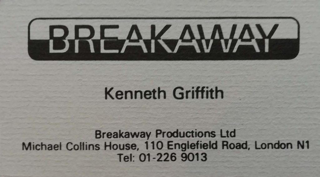 A business card with Breakaway written across the top