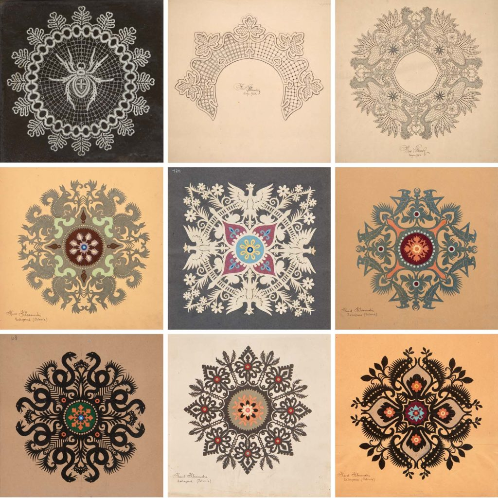 montage image of various designs and patterns for lace
