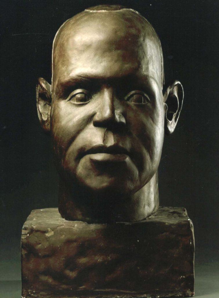 strong portrait bust head of a Black man
