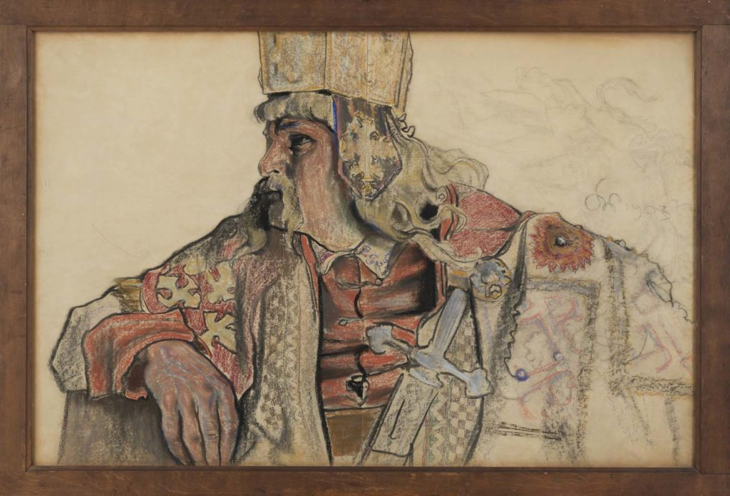 cplour sketch of a medieval king in his robes, hat and holding a sword